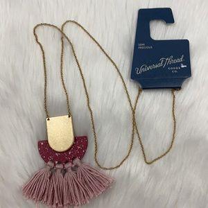4/$20 Universal Thread Gold Pink Tassel Necklace